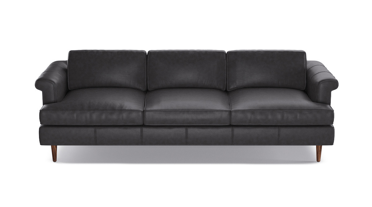 Mid-Century Sofa | Steamboat Charcoal Leather