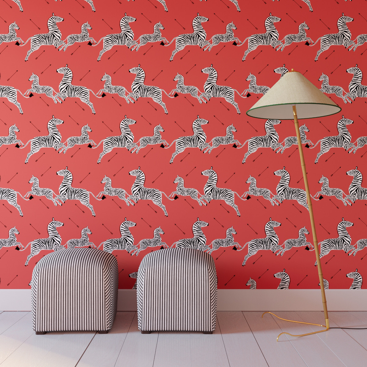 Peel and Stick Wallpaper Roll | Coral Zebra