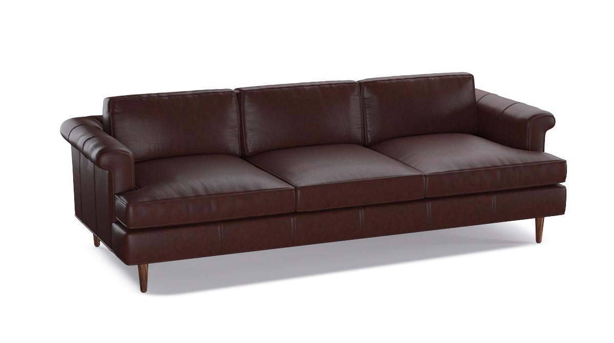 Mid-Century Sofa | Steamboat Oxblood Leather